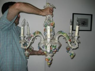 Dresden Porcelain Chandelier - 6 - Arm - 28h - Flower Encrusted photo