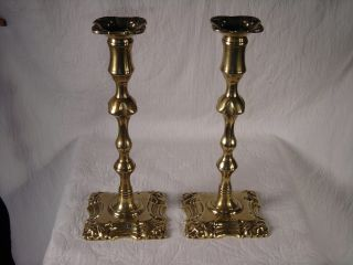 Antique Late 18th C.  Pair Brass Candlesticks
