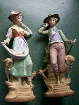 Pr Antique Germany Bisque Figurines.  Gentleman & Lady. photo