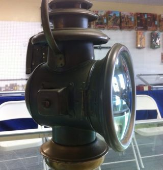 Antique Brass Solar Model 726 Horseless Carriage Kerosene Lamp ~ Extra Fine Cond photo