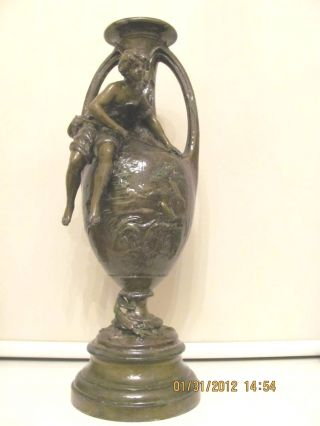 Antique Large Spelter Vase Very Detailed Farm Landscape photo
