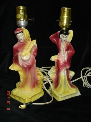 Vintage Oriental Table Lamps,  1950 ' S,  No Shades,  Fine Condition. photo