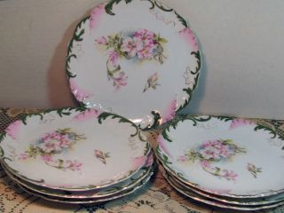 Antique 7 Piece Luncheon/dessert Plates With Azalea And Forest Green photo