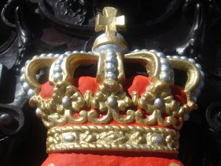 Vintage Belgian Crown Royal Lions Coat Of Arms Armorial Crest/shield photo