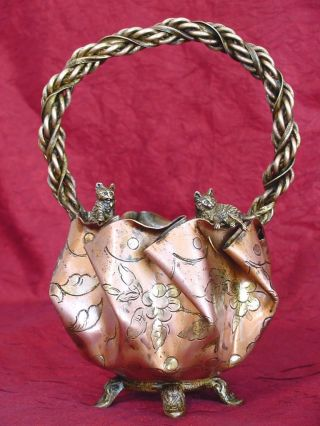 Antique Gilded Bronze Vase With Cats Roped Handle photo