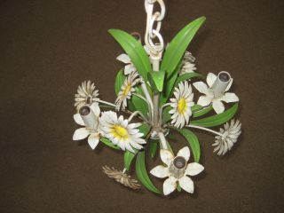 Vintage Tole ~daisy Flower~ Hanging Candle Chandelier Light Retro photo