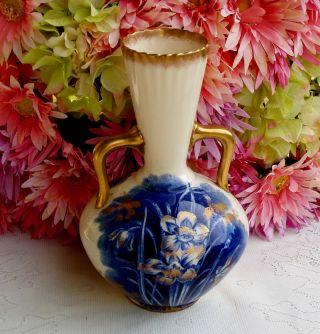 Antique Adderley Porcelain Flow Blue Vase ~ Gold Gilt photo