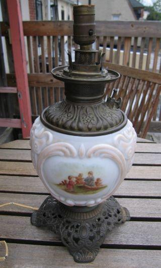 Antique Victorian Tabletop Oil Lamp,  Cast Brass Base photo