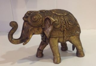 Antique Royal Bronze Elephant Statue photo