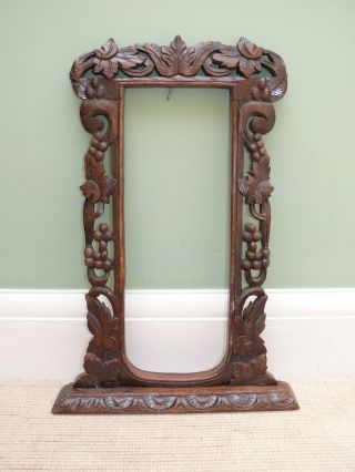 Fine 19thc Black Forest Oak Carved Picture Frame With Leaf & Berry Decor photo