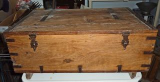 Great Dovetailed Box W/ Ditty Box,  Metal Iron Work,  Awsome Details photo