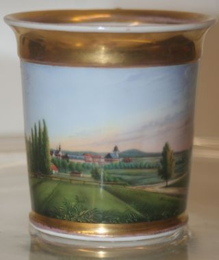 Rare Antique Early 19th Century Russian Porcelain Landscape Cabinet Cup photo