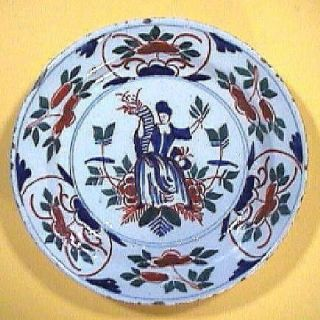 Ca 1720 Bristol Polychrome Delft Tin Glazed Plate With Peace & Prosperity Theme photo