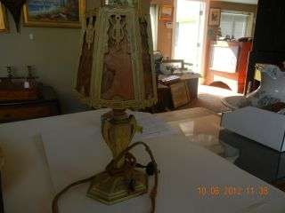 Antique Boudoir Bedroom Dresser Lamp photo
