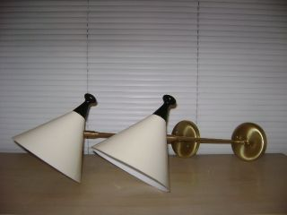Pair Arteluce Mid Century Guariche Sconce Lamps Sarfatti Eames Deco photo