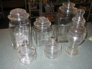6 Vintage Apothecary Drug Candy Terrarium Clear Glass Jars With Lids photo