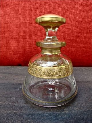 Antique Hand Blown Perfume Bottle With Gold Overlay photo