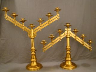 2) 19thc Brass / Copper Adjustable Religious Church Alter Candlestick Candelabra photo