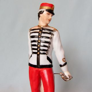 Rare Antique Capodimonte Italian Porcelain Fabris Military Soldier Man Figurine photo
