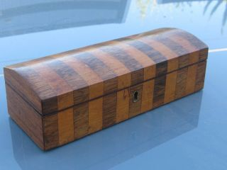 19thc Dome Top Rosewood & Mahogany Inlaid Box photo
