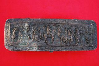 Antique Victorian Figural Copper Bronze Vanity Box,  1800s. photo