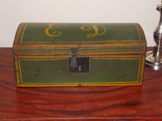 Wonderful Primitive Decorated American Painted Box photo
