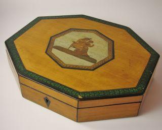 Antique Regency Octagonal Card Games Box C1820 Irish Clover Shamrocks photo