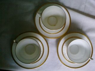 3 Rare Wedgwood X7000 White And Gold Coffee Cups And Saucers photo