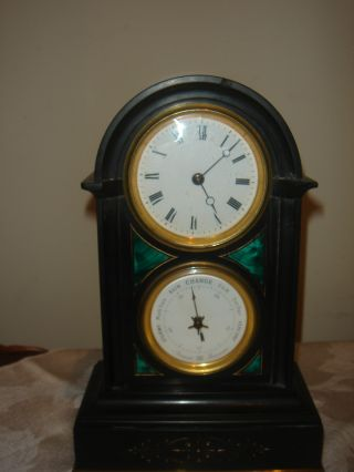 Antique French 8 Day Desk Clock Barometer With Small 53mm Platform Movement photo