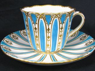 1830 Davenport Turquoise Enamel Fancy Gold Tea Cup And Saucer Marriage photo