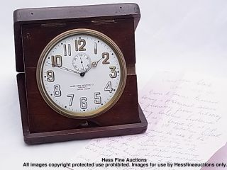 Huge Antique West End Watch Co Weekly Wwi Campaign Travel Clock W/ Provenance photo