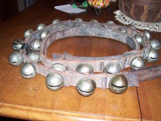 Vermont Antique Brass Sleigh Bells,  Petal Design Harness,  Signed