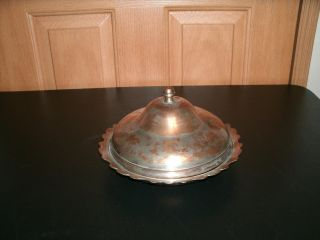 Antique Large Turkish Copper Lidded Serving Dish photo