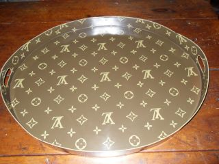 Vintage Louis Vuitton Lv Large Oval Serving Or Coffee Table Tray With Handles photo