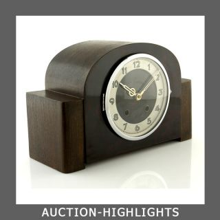 Art Deco Bauhaus Junghans Alpina Chiming 10 - 14 Days Mantel Clock Bakelite Front photo