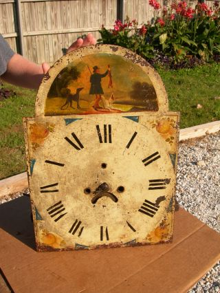 19th Century Antique Grandfather Clock Parts~metal Face,  Clockworks~rabbit Hunter photo
