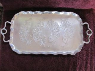Sale Antique Frosted Pointsettia Motif Serving Tray photo