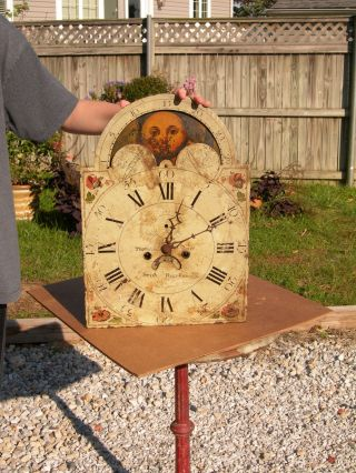 Antique Grandfather Metal Clock Face,  Clockworks & Parts Thomas Price Moon Dial photo