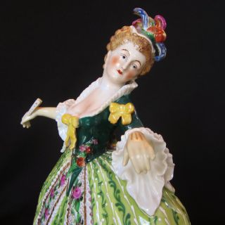 Antique German Porcelain Carl Theime Dresden Porcelain Queen Half Doll Figurine photo