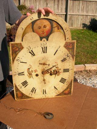 Antique English Grandfather Clock Face,  Clockwork,  Rotating Dial~wilson Birmingham photo