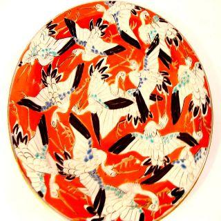 Antique 18thc Porcelain Japan Cloisonne Stork Fly Bird Meiji Enamel Painting Old photo