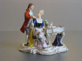 A Vintage Porcelain Romantic Probably German Dresden Figurine Figure photo