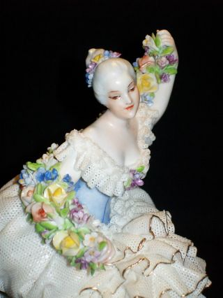 Antique Italian Luigi Fabris Porcelain Dresden Lace Lady Figurine Floral Garland photo