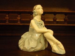 1950s Old Soviet Latvian Riga Porcelain Figurine Girl Ballerina. photo