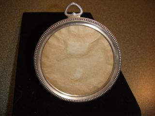 Striking Round Vintage Sterling Picture Frame.  Signed/hallmark Good Condition photo