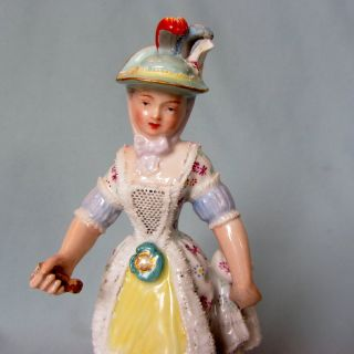 Rare Antique German Porcelain Vienna Dresden Lace Lady Germany Figurine Figure photo