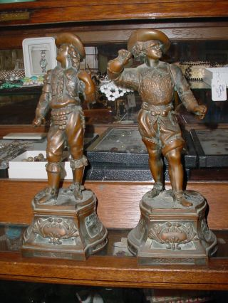 Pair Of Spelter Statues Don Juan And Don Cesar photo