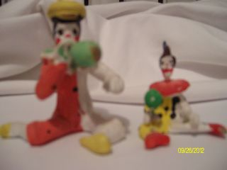 Set Of 2 Clay Hand Painted Clown Figurine Collectibles Artisit/date Unknown photo