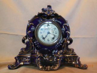 Gilbert Mantel Clock W/porcelain Face,  Flow Blue/enamel/gilded,  Pat April 28 - 96 photo