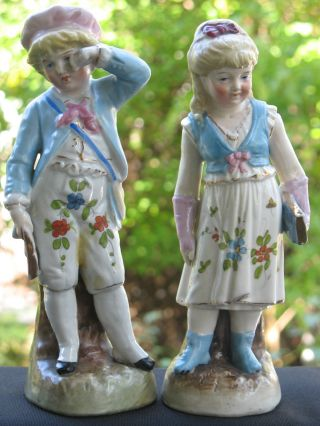 Vintage Pair (2) Mid 19th Century German Hp Figurines By Conta & Boehme photo